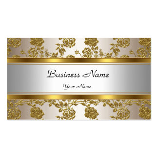 Elegant Classy Gold Cream Floral Pack Of Standard Business Cards