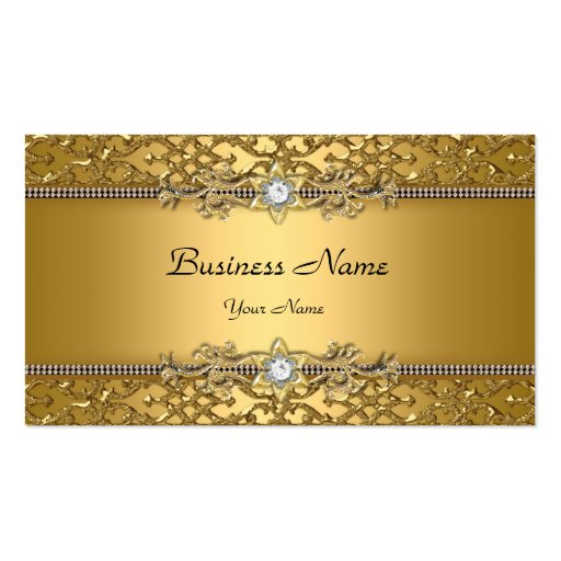 Elegant Classy Gold Damask Embossed Jewel Business Card Template