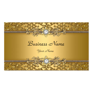 Elegant Classy Gold Damask Embossed Jewel Pack Of Standard Business Cards