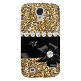 Elegant Classy Gold Glitter Look Monogram Bow Galaxy S4 Cover