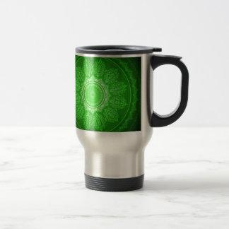 Elegant Classy Green Swirl Decorative Pattern Stainless Steel Travel Mug