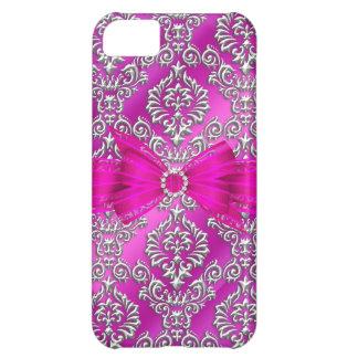 Elegant Classy hot pink silver Damask Floral iPhone 5C Case