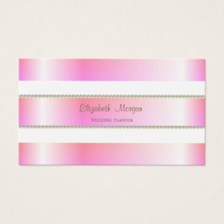 Elegant Classy Modern, Pink Stripes,Pearls Business Card