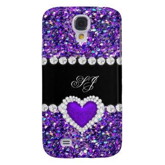 Elegant Classy Purple Black Glitter Look 2 Galaxy S4 Cases