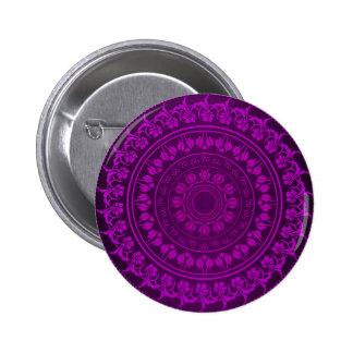Elegant Classy Purple Floral Swirl Pattern Pinback Button
