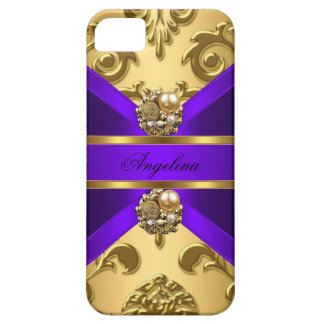 Elegant Classy Purple Gold Damask Jewel iPhone 5 Cases