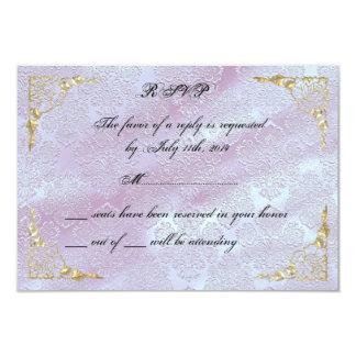 Elegant Classy Rose Gold Lavender Purple RSVP Card 9 Cm X 13 Cm Invitation Card