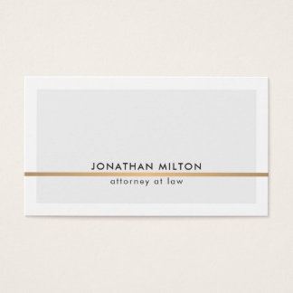 Elegant Clean Light Grey Faux Copper Line Attorney Business Card