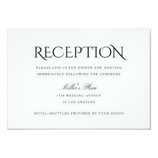 Elegant Clean Simple White Wedding Reception Card