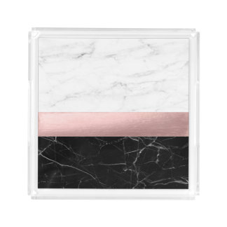 elegant clear black white marble rose gold foil acrylic tray