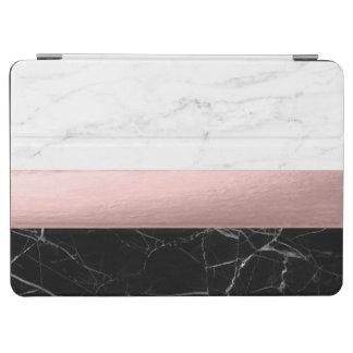 elegant clear black white marble rose gold foil iPad air cover