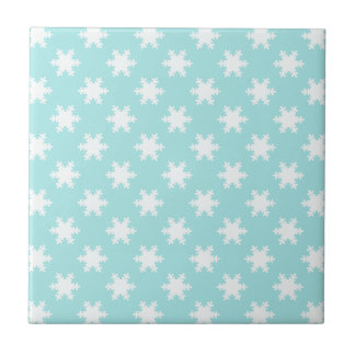 elegant clear Christmas snowflakes pattern blue Ceramic Tile