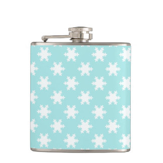 elegant clear Christmas snowflakes pattern blue Hip Flask