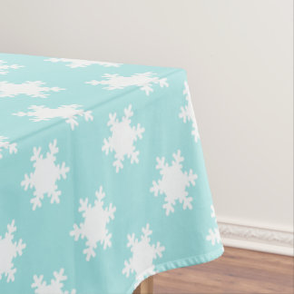 elegant clear Christmas snowflakes pattern blue Tablecloth