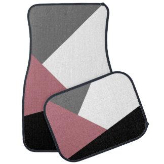 elegant clear dusty pink, black, grey geometrics car mat