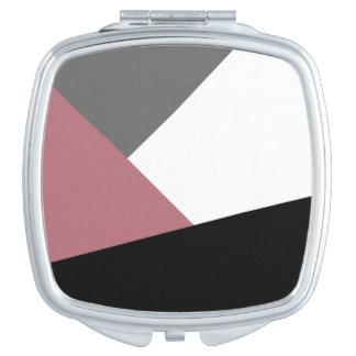 elegant clear dusty pink, black, grey geometrics compact mirrors