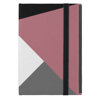 elegant clear dusty pink, black, grey geometrics iPad mini case