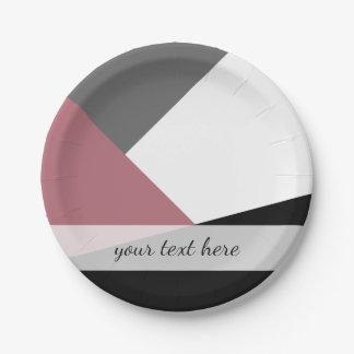 elegant clear dusty pink, black, grey geometrics paper plate