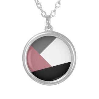 elegant clear dusty pink, black, grey geometrics silver plated necklace
