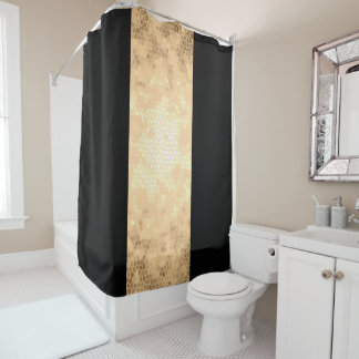 elegant clear faux gold and black stripes shower curtain