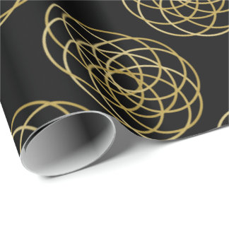 elegant clear faux gold flower pattern wrapping paper