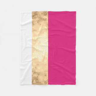 elegant clear faux gold foil pink white stripes fleece blanket