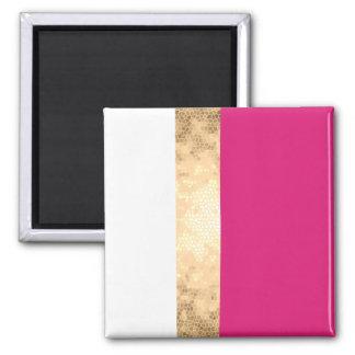 elegant clear faux gold foil pink white stripes square magnet