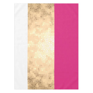 elegant clear faux gold foil pink white stripes tablecloth