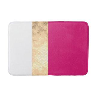 elegant clear faux gold pink white stripes bath mat