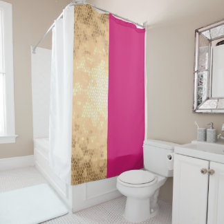 elegant clear faux gold pink white stripes shower curtain