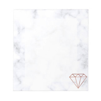elegant clear faux rose gold diamond white marble notepad