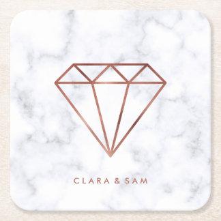 elegant clear faux rose gold diamond white marble square paper coaster