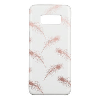 elegant clear faux rose gold feathers pattern Case-Mate samsung galaxy s8 case