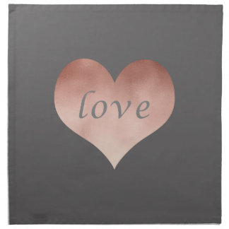 elegant clear faux rose gold love text heart napkin