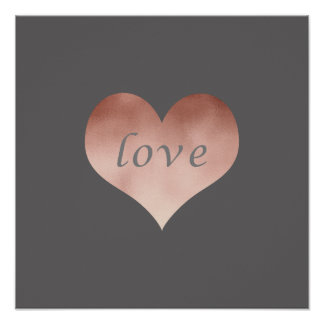 elegant clear faux rose gold love text heart poster