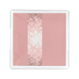 elegant clear faux rose gold pink stripes acrylic tray