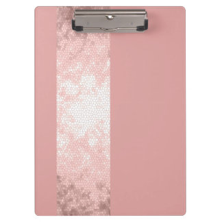 elegant clear faux rose gold pink stripes clipboard