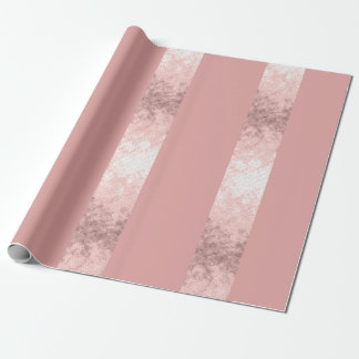 elegant clear faux rose gold pink stripes wrapping paper