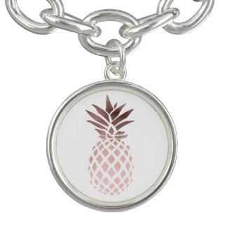 elegant clear faux rose gold tropical pineapple