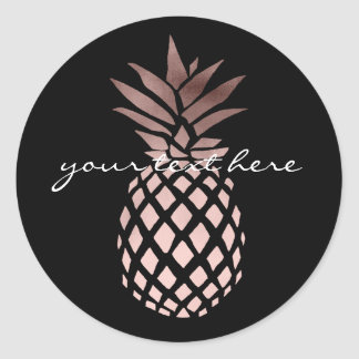 elegant clear faux rose gold tropical pineapple classic round sticker