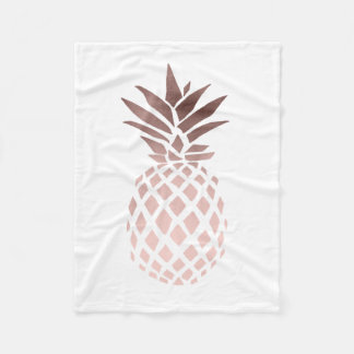 elegant clear faux rose gold tropical pineapple fleece blanket