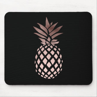 elegant clear faux rose gold tropical pineapple mouse pad