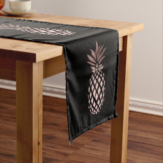 elegant clear faux rose gold tropical pineapple short table runner