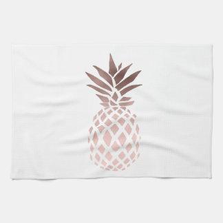 elegant clear faux rose gold tropical pineapple tea towel