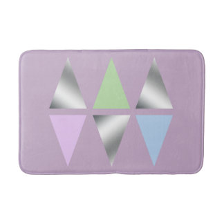 elegant clear faux silver foil geometric triangles bath mat