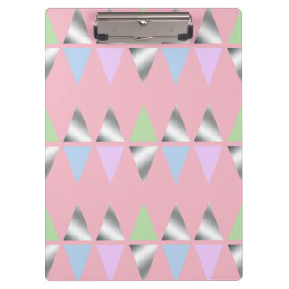 elegant clear faux silver foil geometric triangles clipboards