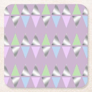 elegant clear faux silver foil geometric triangles square paper coaster