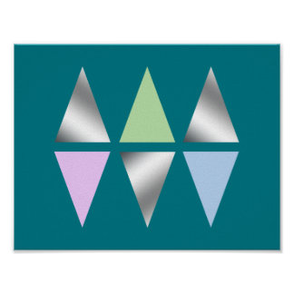 elegant clear faux silver geometric triangles poster