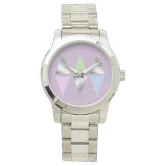 elegant clear faux silver geometric triangles watch