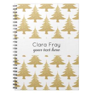elegant clear gold glitter Christmas tree pattern Notebook